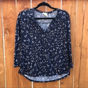 H&M Navy Blue Bird Print Top Size M